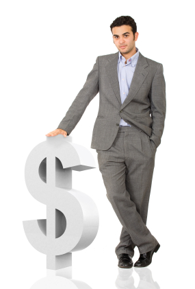 Man With Money Sign for Payday Loans