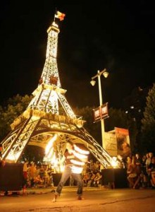 An Eiffel Tower replica is used in commemorating Bastille Day in Milwaukee.