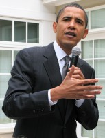 Barack Obama touts health care everywhere he goes. Image from Wikimedia.