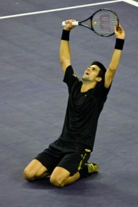 Novak Djokovic may need one of his credit cards to help pay the fines for his latest on-court outburst.  (Photo: Wikipedia.org)