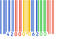 A lovely Google barcode logo, with their colors. (Photo: symblogogy.com)