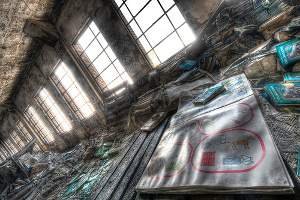 Artist's rendition of an abandoned school book depository. Based upon an actual abandoned building in a Detroit Public Schools district.