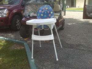 Not the specific Graco high chair recall model, but an example of a Graco high chair. It's sitting in an owner's driveway.