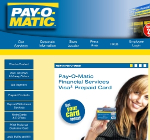 The home page of Payomatic.com, where clean design makes it easy to find what you're looking for. A smiling woman holding a prepaid VISA card invites New York customers to try out the financial services Payomatic has to offer.