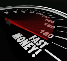 Fast payday loans on a speedometer